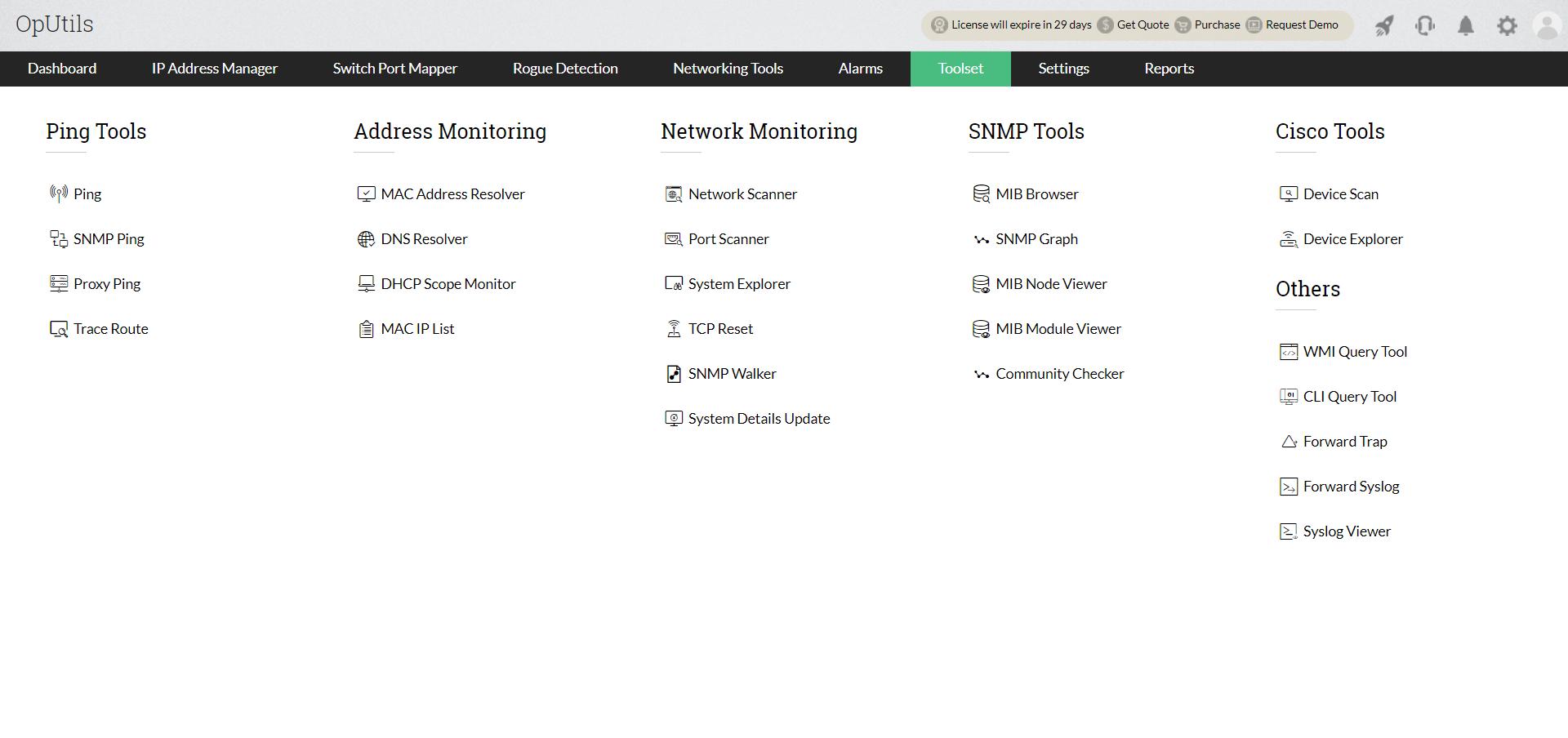 Outils réseau - ManageEngine Oputils