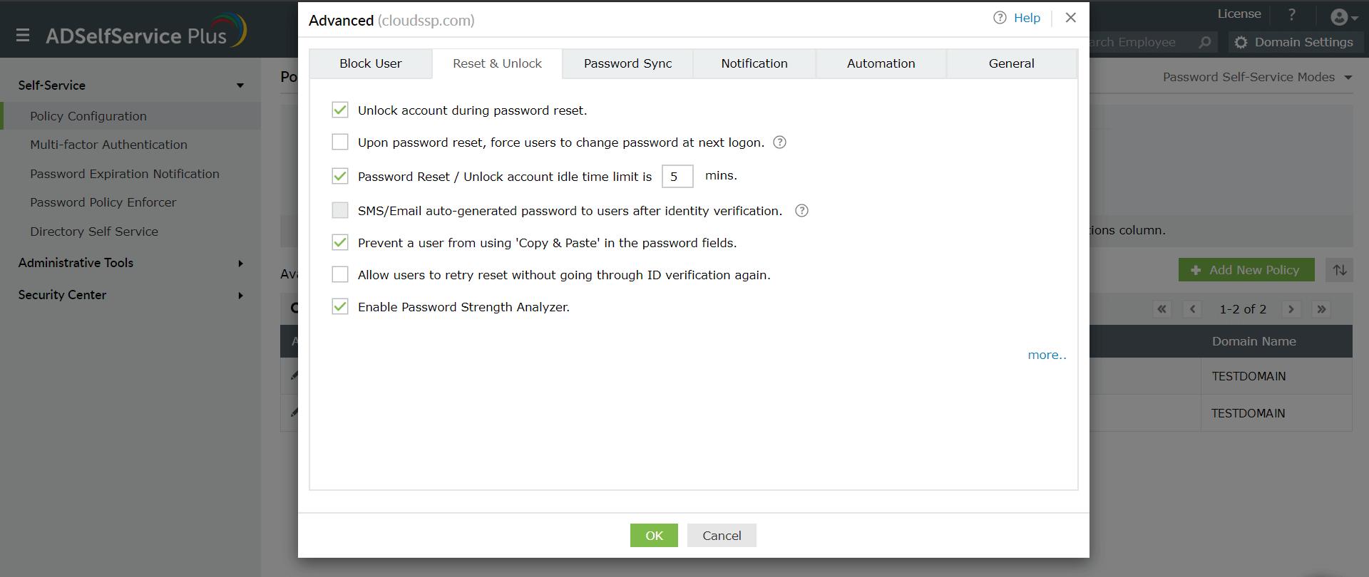 adselfservice-plus-advanced-password-reset-policy