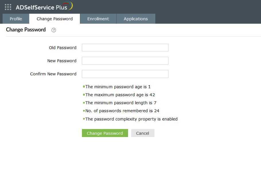 adselfservice-plus-change-password-screen