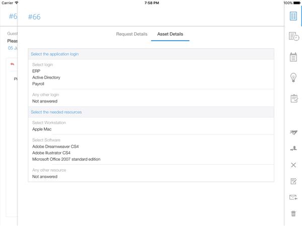 IT help desk asset management on iPad app