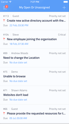 Helpdesk requests on IOS app