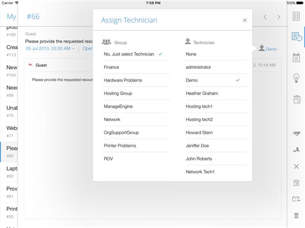 Assign technician through iPad app