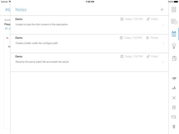 Add help desk notes through ipad app
