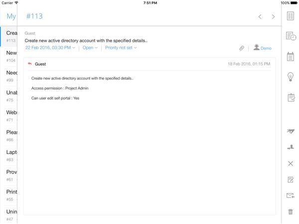 IT service request management on iPad