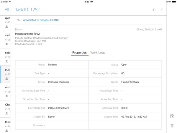 IT task management through iPad app