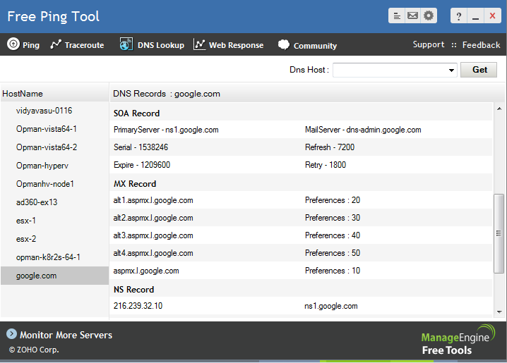 Free ICMP Ping and Traceroute Tool - ManageEngine Free Tools