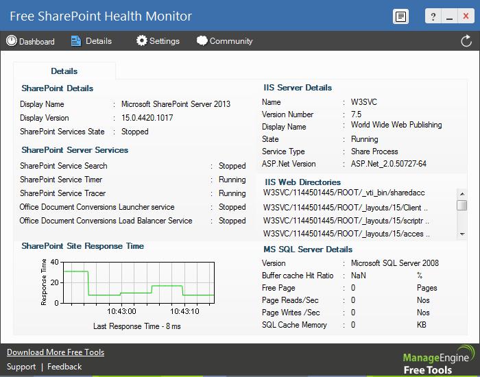 Free SharePoint Server Monitoring Tool - ManageEngine Free Tools