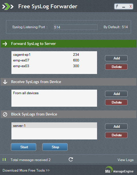 Free System Log Forwarding Tool – ManageEngine Free Tools