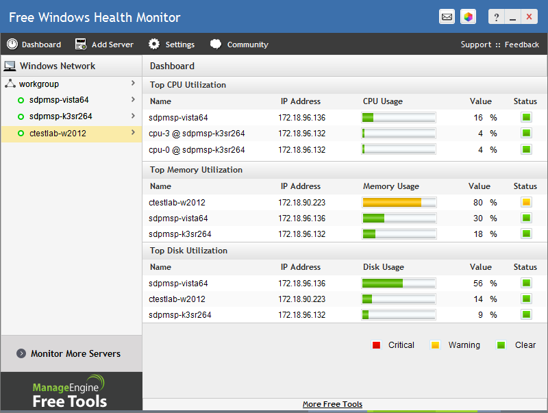 Free Windows Monitor Tool Manageengine Free Tools