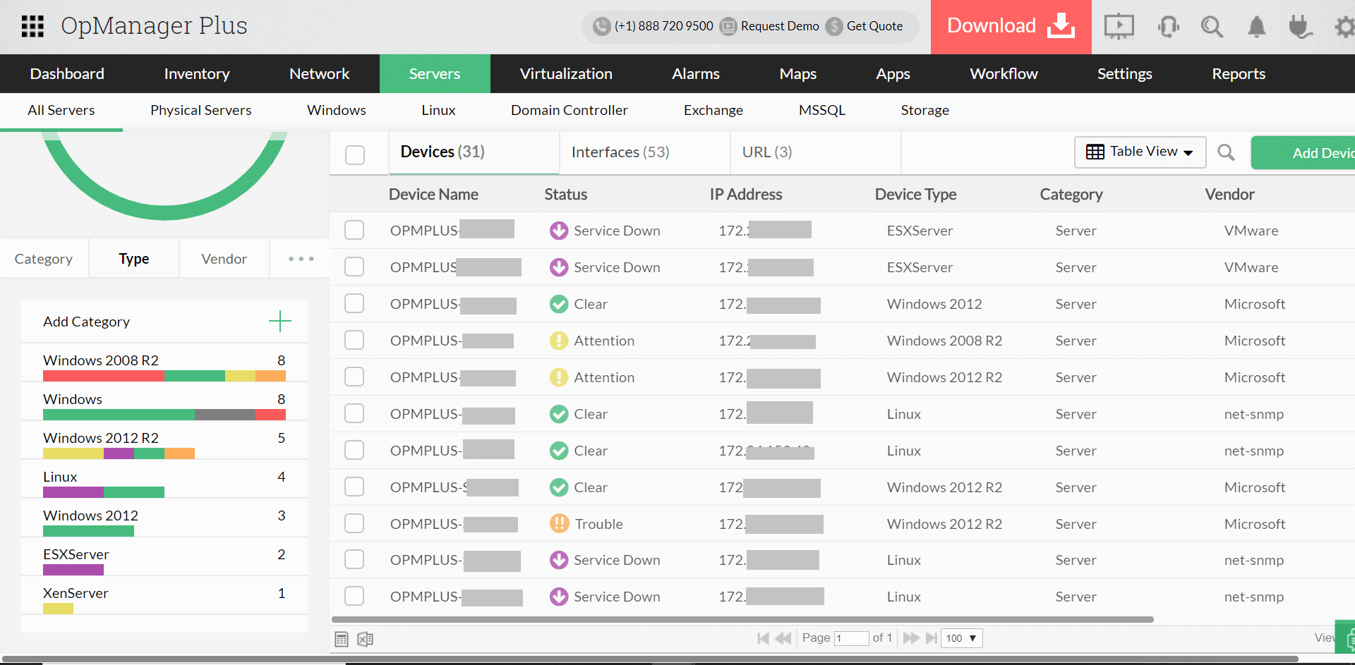 Server Monitoring Types - ManageEngine OpManager Plus