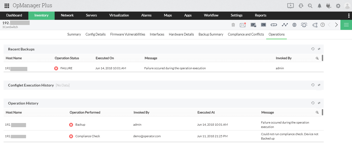 IT infrastructure configuration monitoring: ManageEngine OpManager Plus