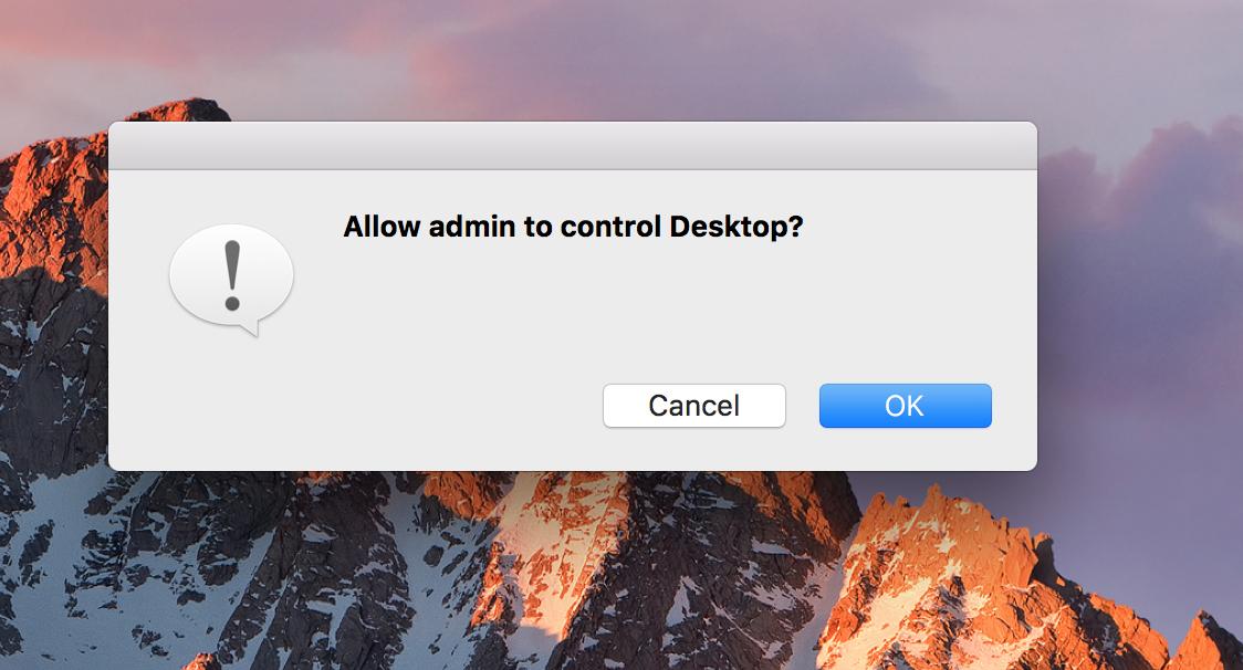 Ottieni il consenso dell'utente finale prima di avviare una sessione da remoto per Mac
