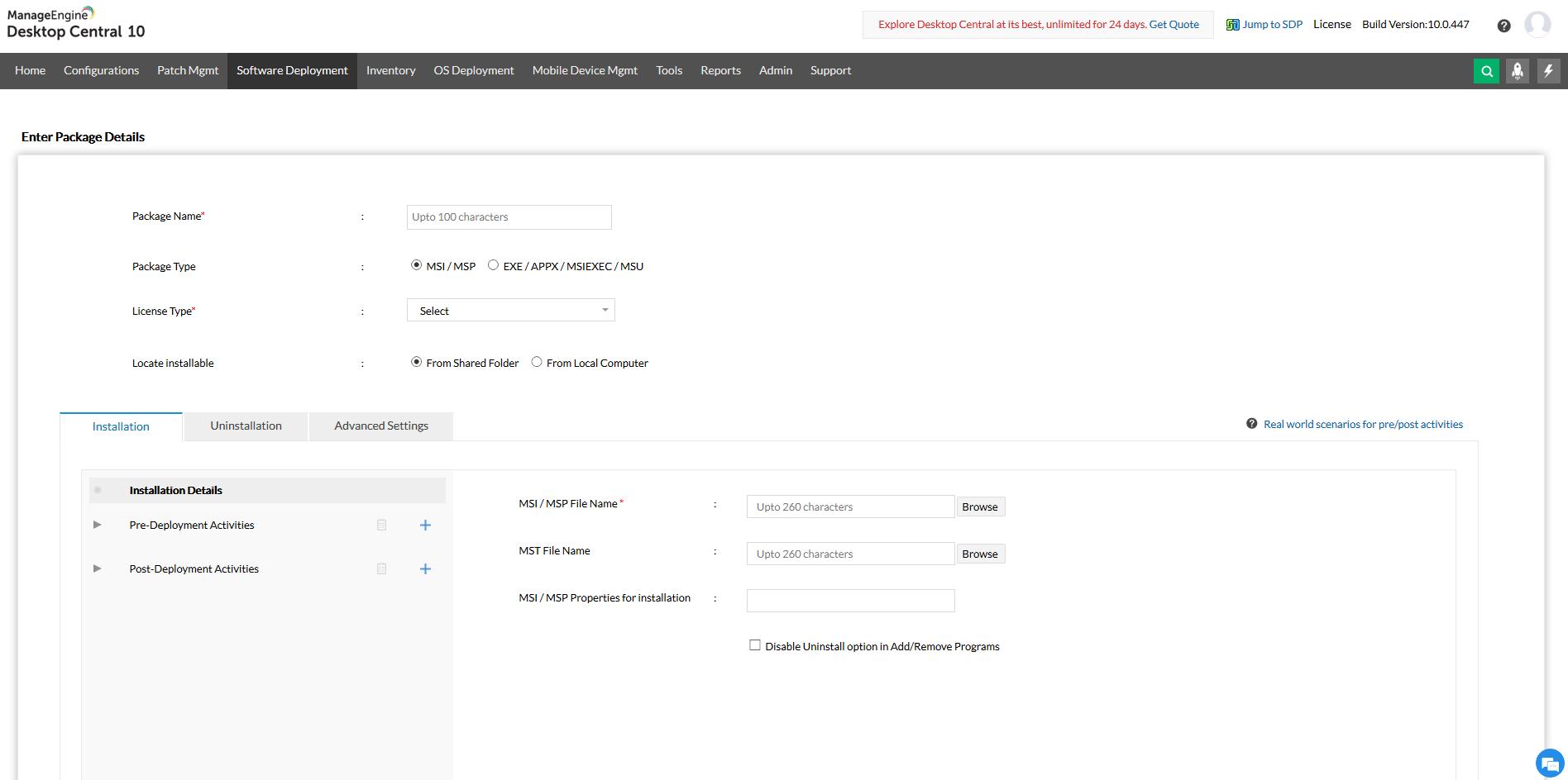 Crea e personalizza i tuoi pacchetti software con attività di pre e post distribuzione