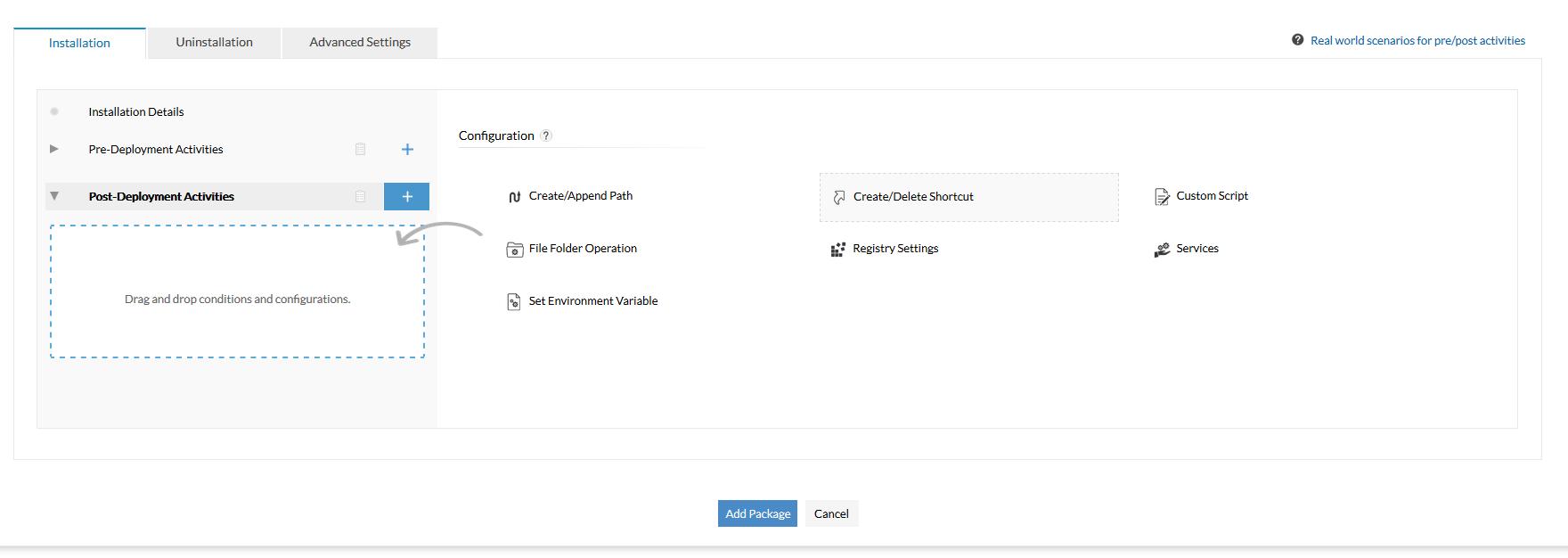 Attività di post-distribuzione: Distribuisci le configurazioni dopo l'installazione del pacchetto
