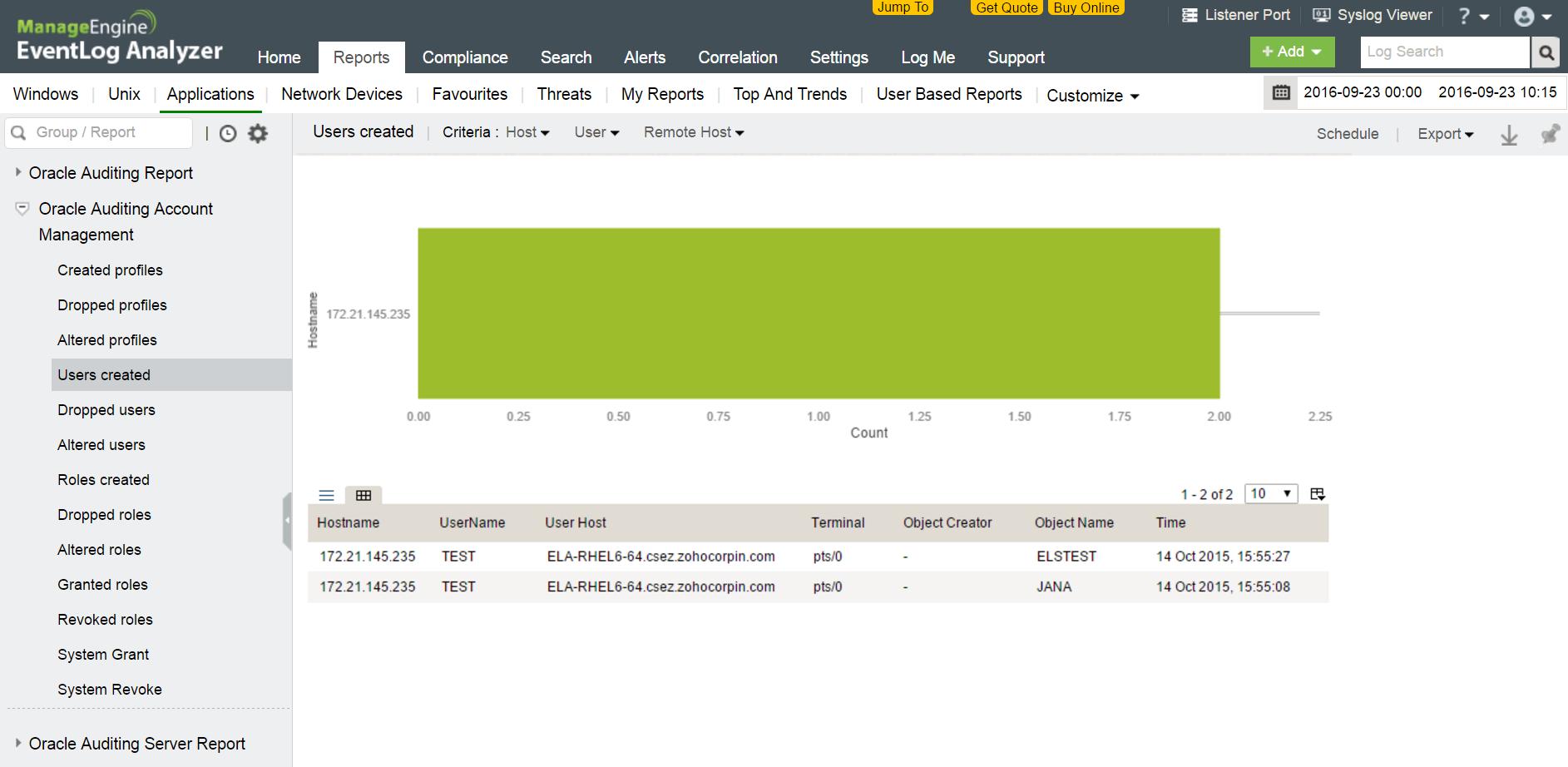 Controllo modifiche account del database Oracle