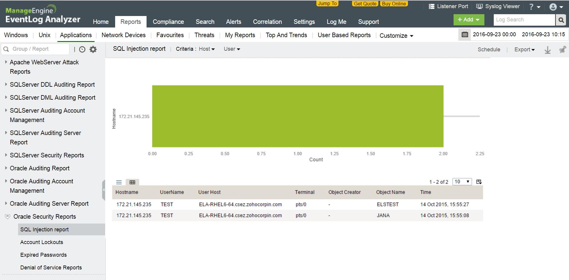 Report sulla sicurezza del database Oracle