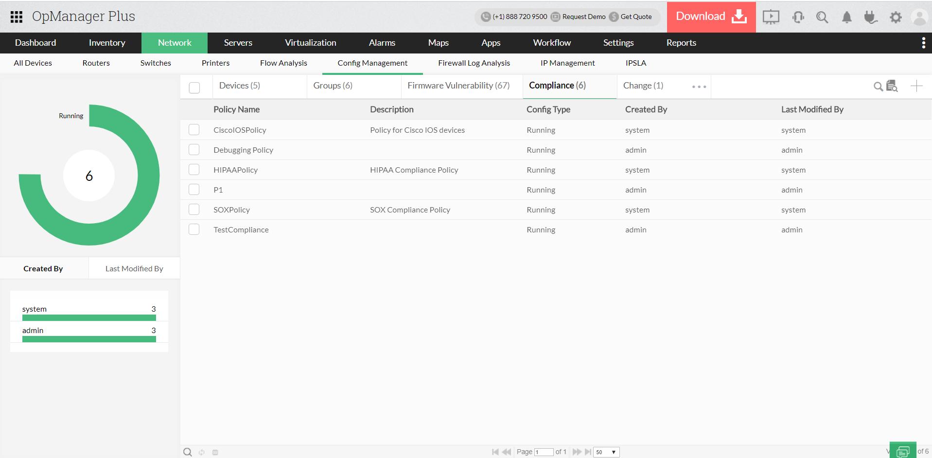 Monitoraggio della conformità - ManageEngine OpManager Plus