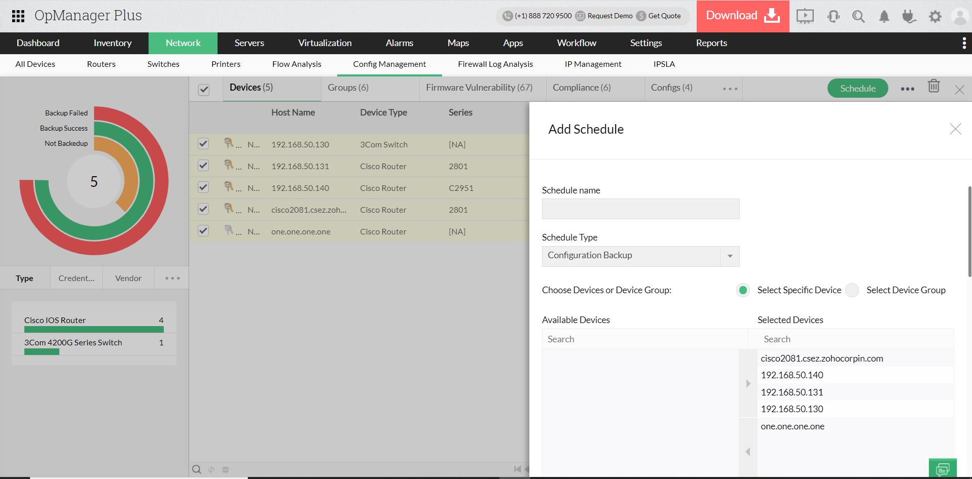 Programmazione e automazione del backup della configurazione - ManageEngine OpManager Plus