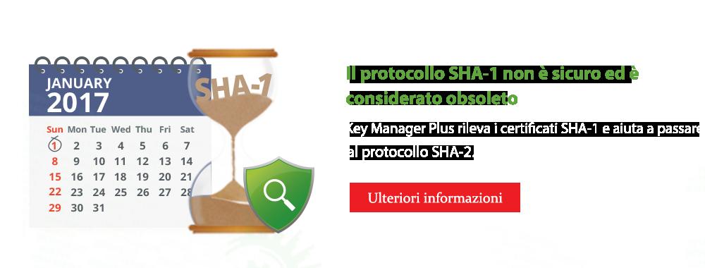 Il protocollo SHA-1 non è sicuro ed è considerato obsoleto