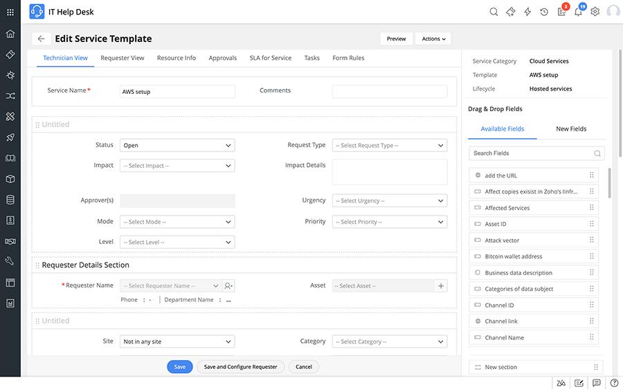Cloud service catalog template