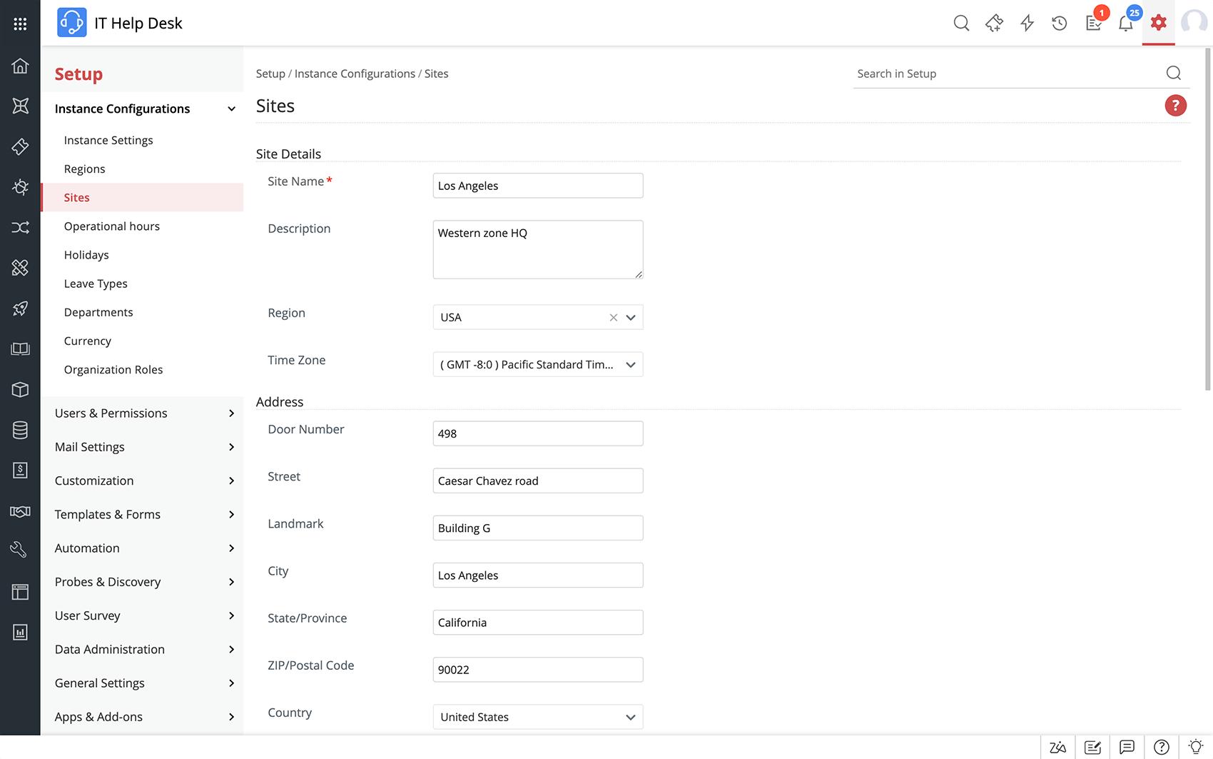 Help desk e gestione delle risorse su siti multipli