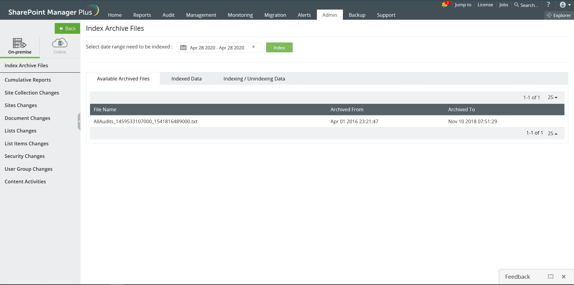 Archiviazione dei registri di controllo