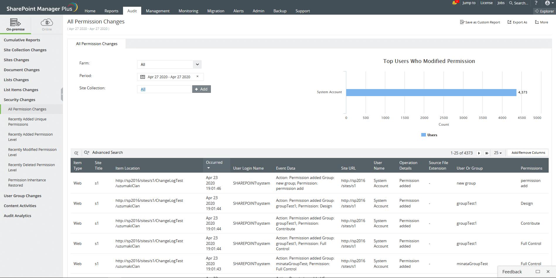 Controllo efficiente per SharePoint Server
