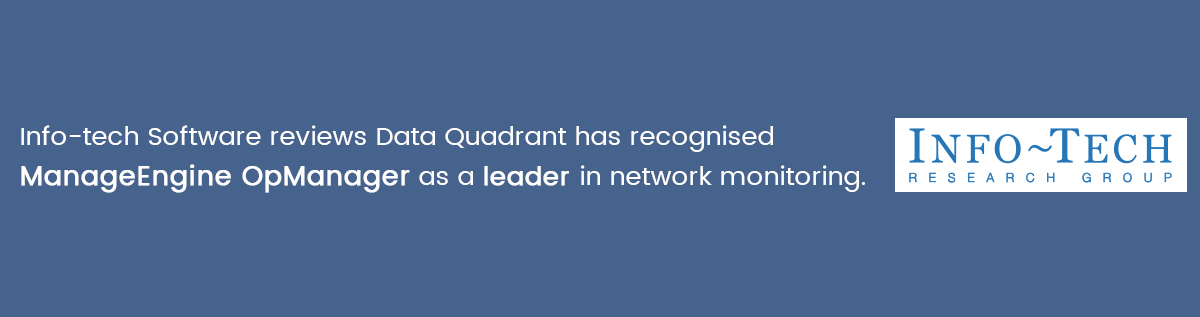 ManageEngine has been recognised in the Info-tech Software Reviews as a leader in the Network monitoring data quadrant
