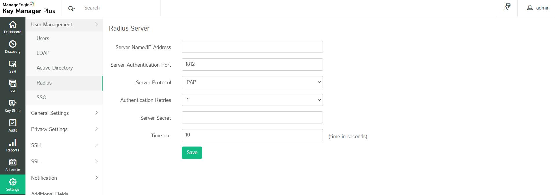 RADIUS authentication - Key Manager Plus