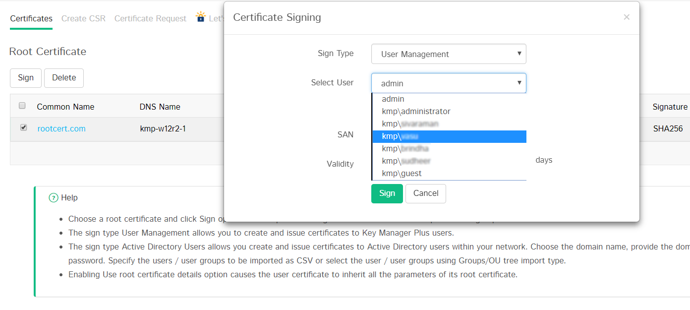 Manage SSL Certificates - Key Manager Plus