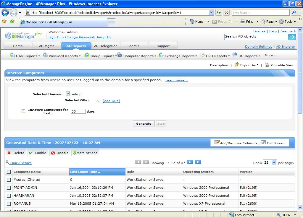 Active Directory Inactive Computers Report