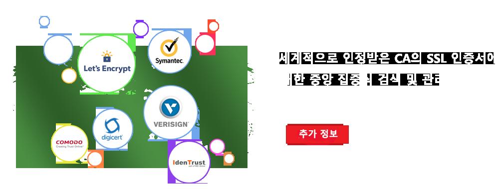 세계적으로 인정받은 CA의 SSL 인증서에 대한 중앙 집중식 검색 및 관리