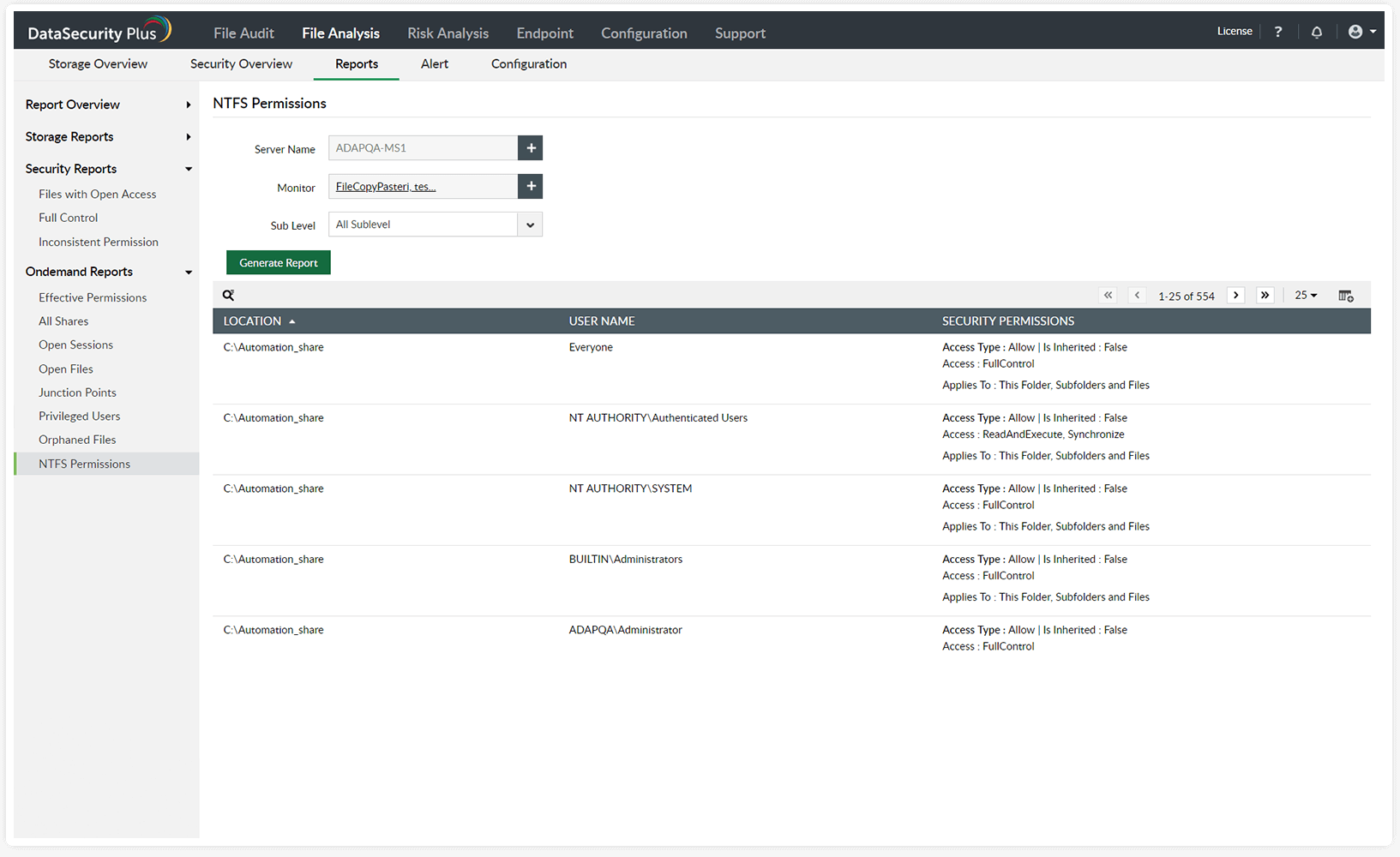 detailed permission audit reports