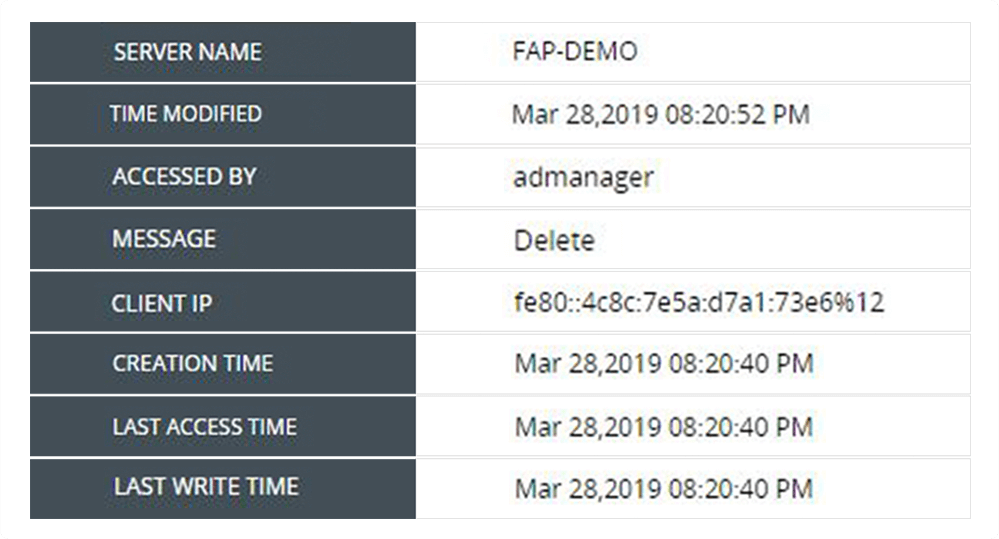 report on file accessed time