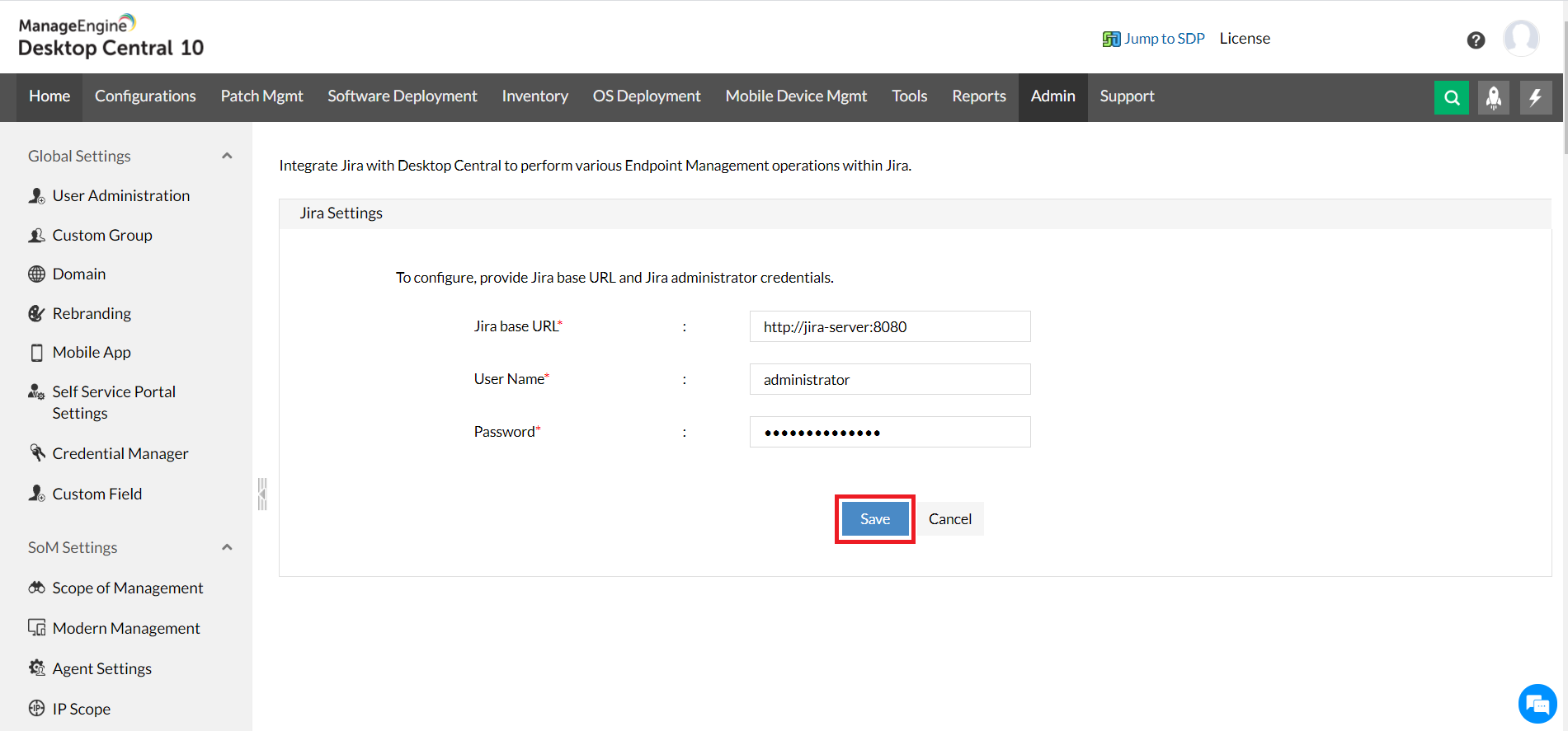 Dashboard administracion credenciales jira ManageEngine Desktop Central