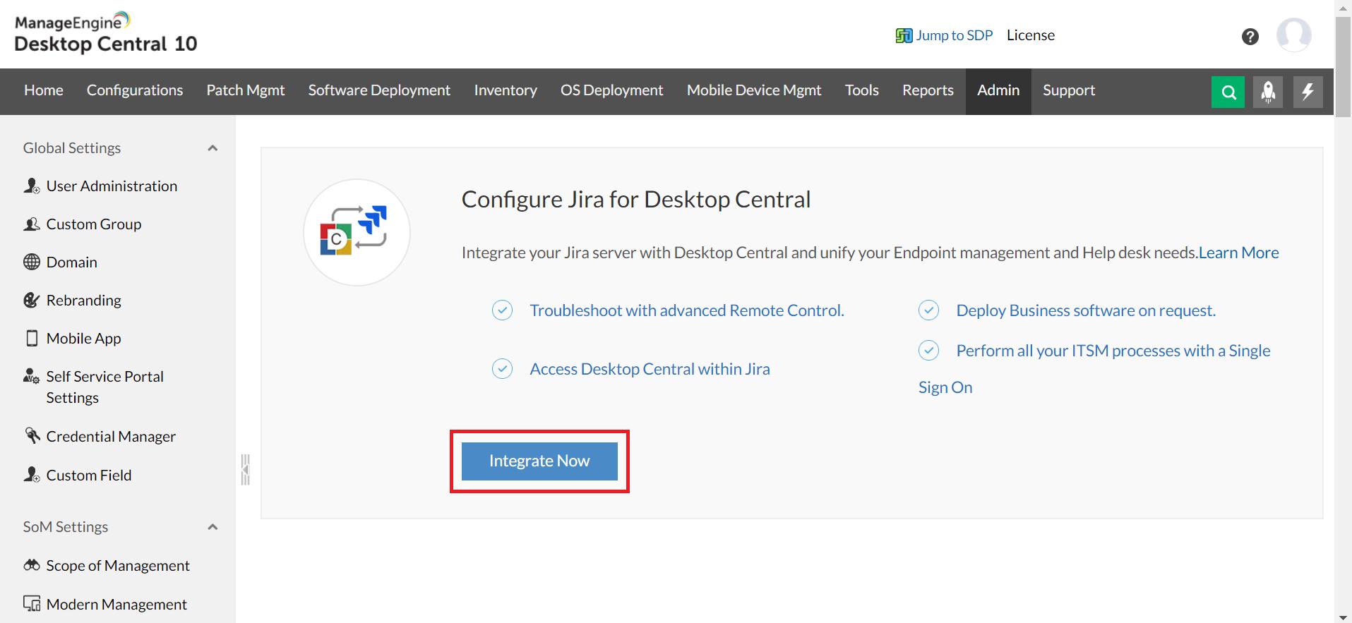 Configuracion jira para ManageEngine Desktop Central