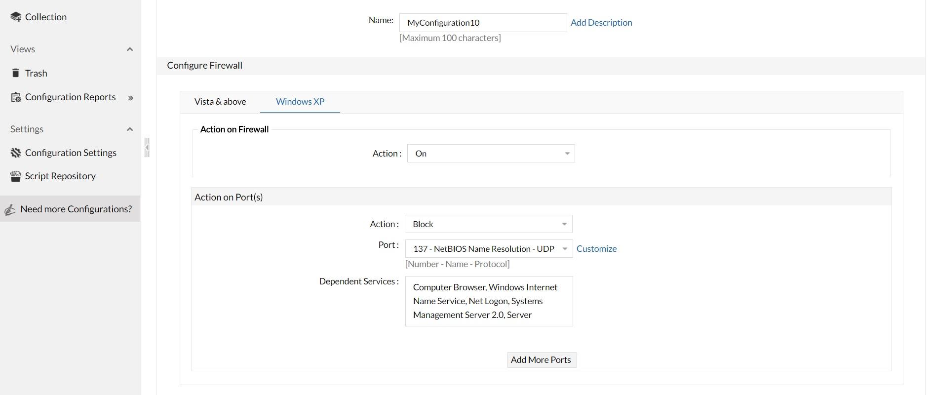 ManageEngine Desktop Central configuraciones firewall1