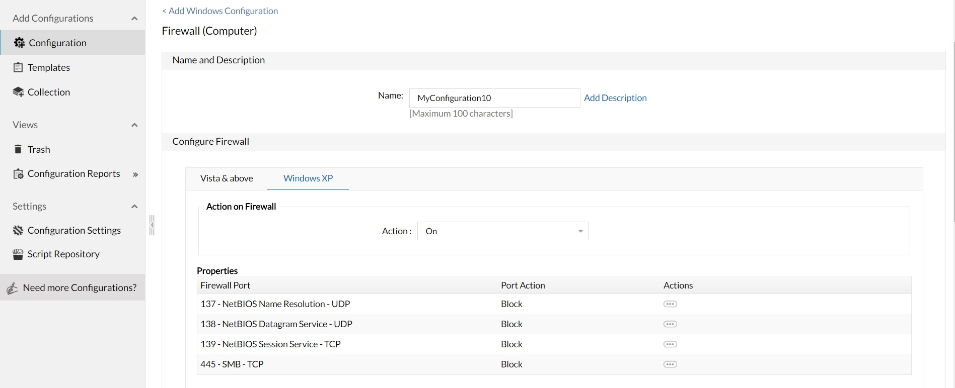 ManageEngine Desktop Central configuraciones firewall