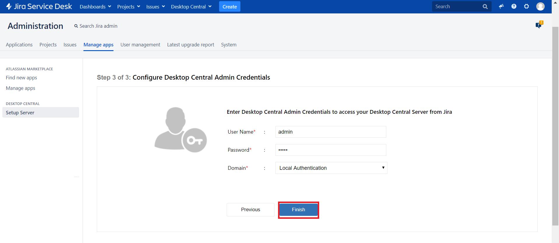 Administracion credenciales jira ManageEngine Desktop Central