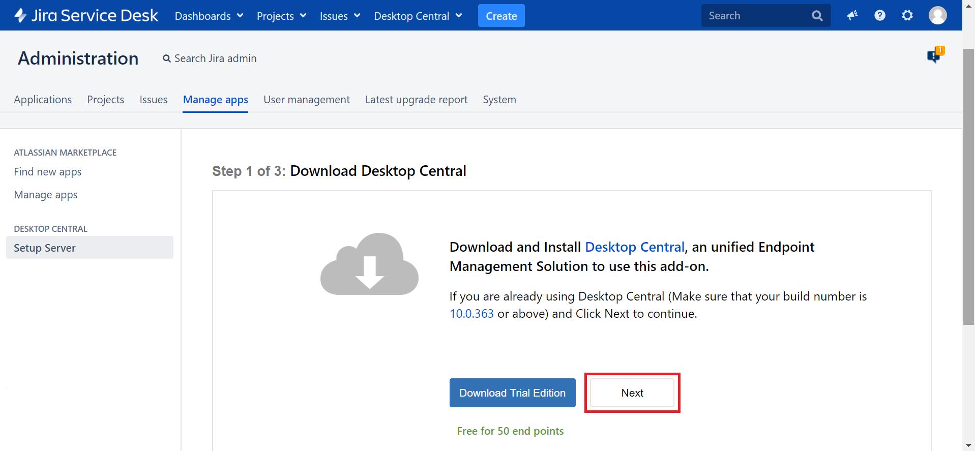Servidor administracion jira ManageEngine Desktop Central