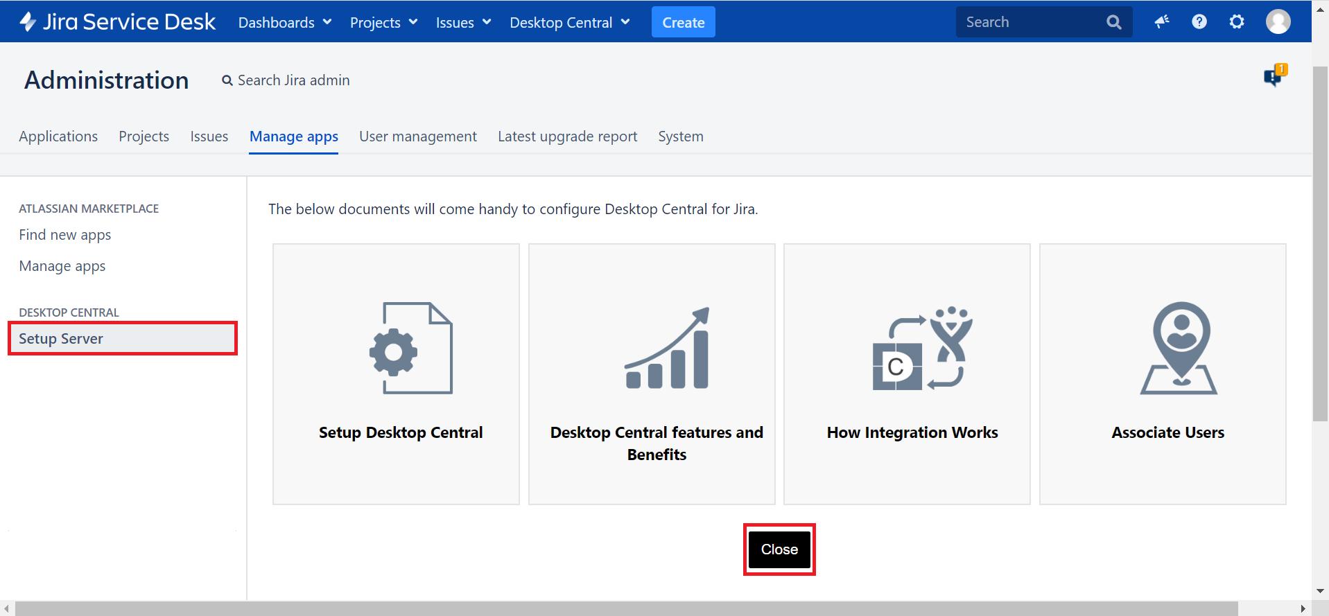 Servidor configuracion jira ManageEngine Desktop Central