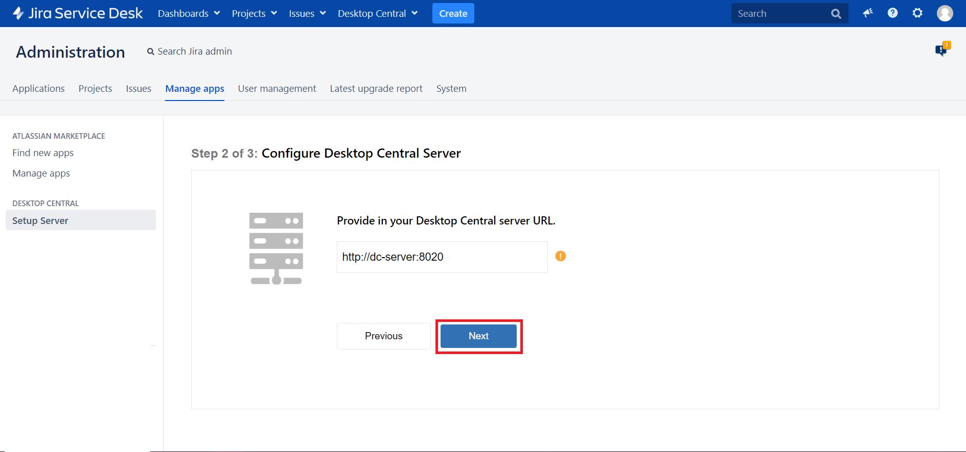 Administracion servidor jira ManageEngine Desktop Central