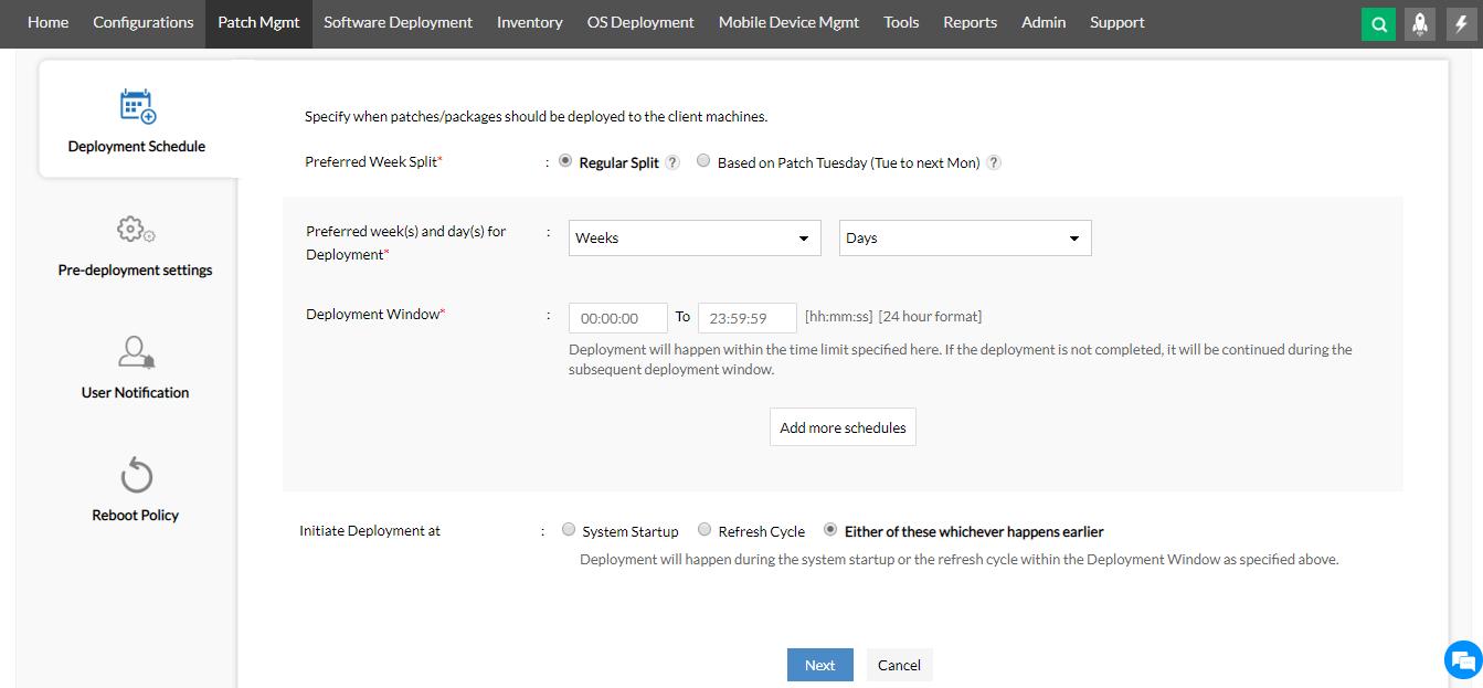Dashboard programación implementación de parches ManageEngine Desktop Central