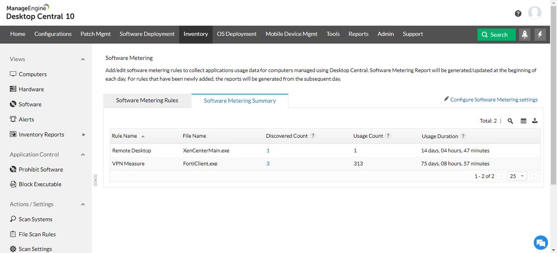 Software metering report   Software usage monitoring tool