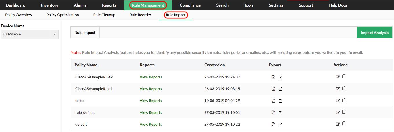 Firewall Rule Set Analysis - ManageEngine Firewall Analyzer