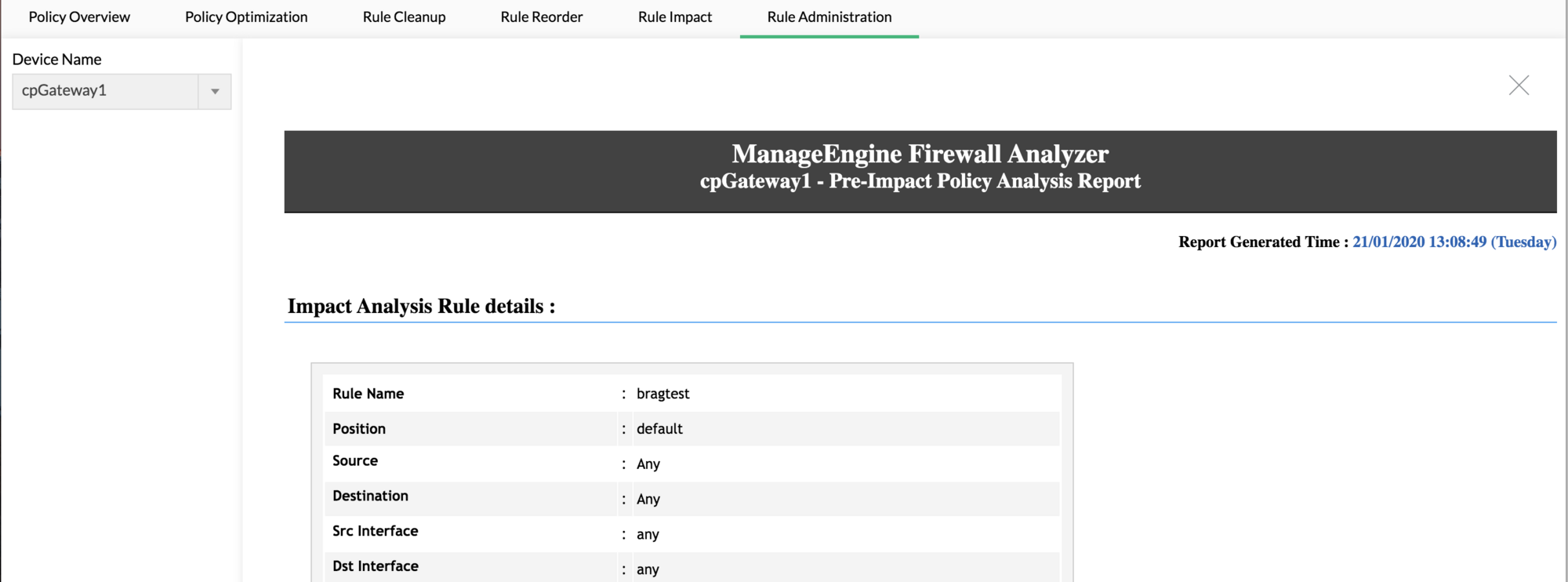Review impact of firewall rule over existing rule set - Configuring firewall rules - ManageEngine Firewall Analyzer