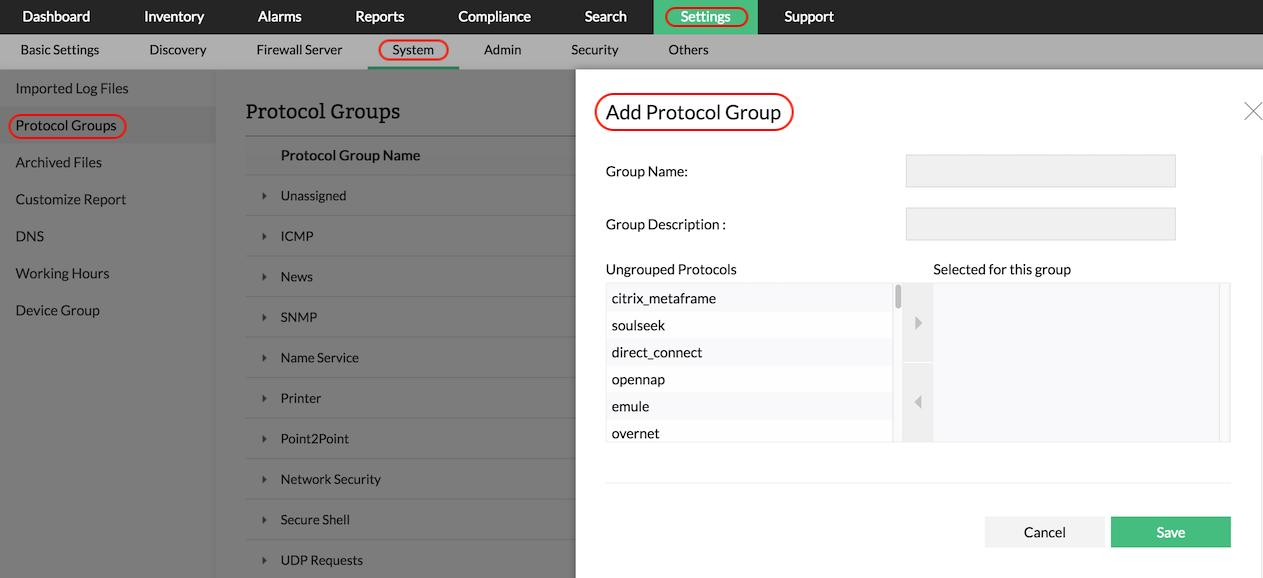 Firewall Analyzer Protocol Grouping