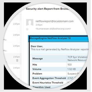 Configuración del perfil de alertas para ataques-NetFlow Analyzer ManageEngine
