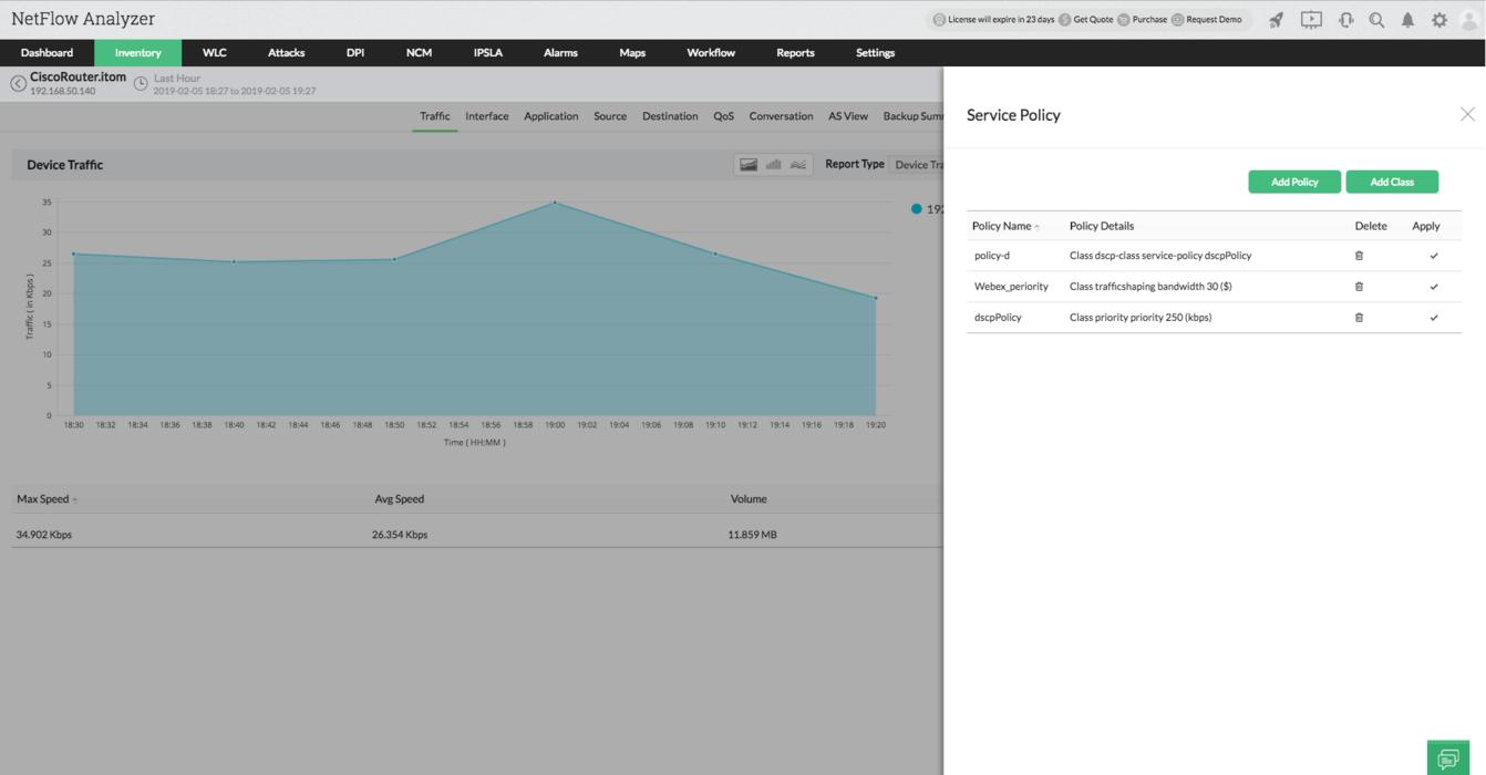 QoS Configuration Network - ManageEngine NetFlow Analyzer
