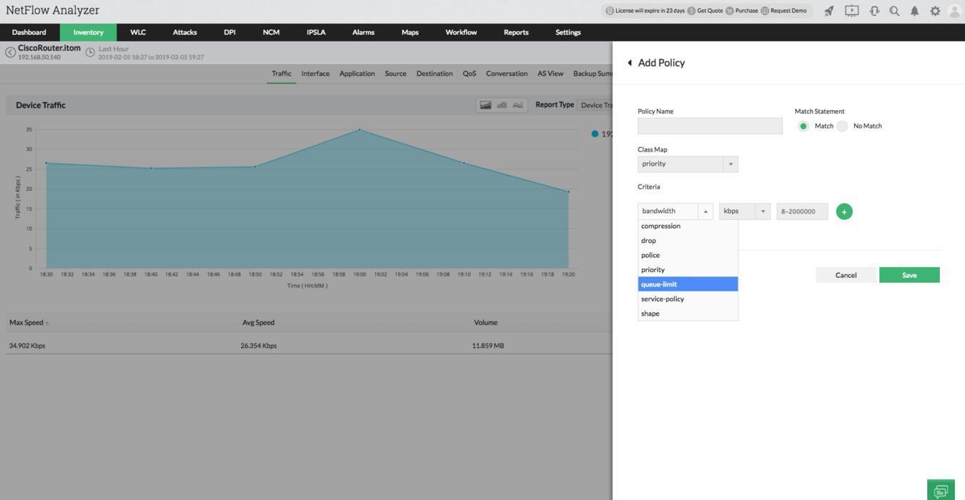 QoS config - QoS Policies - ManageEngine NetFlow Analyzer